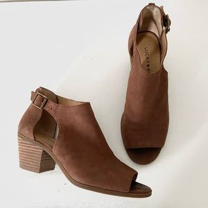 Lucky Brand leather brown ankle bootie heels